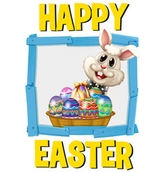 Happy easter poster with bunny and eggs vector