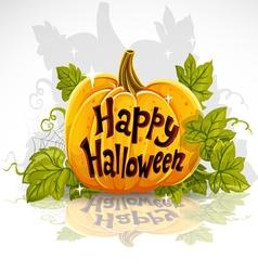 Happy Halloween cut out pumpkin banner vector image