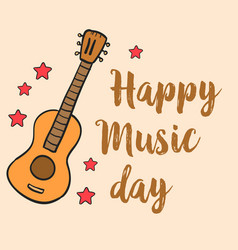 happy music day doodle style vector image