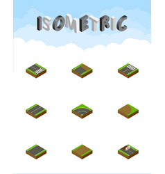 Isometric way set of bitumen footer unfinished vector