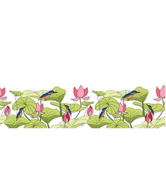 Kingfisher sitting on lotus flowers border with vector