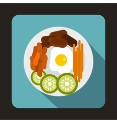 Korean food icon in flat style vector