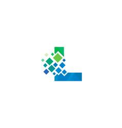L letter pixel logo icon design vector
