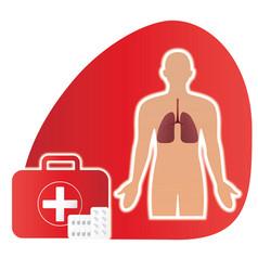 Medical pills sign medical landing page website vector