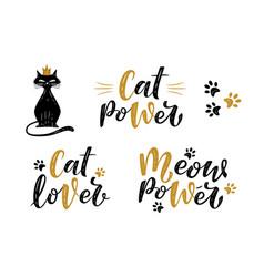 Meow power cat lover cat power handwritten vector