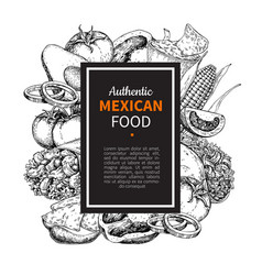 mexican food sketch label in frame traditional vector image
