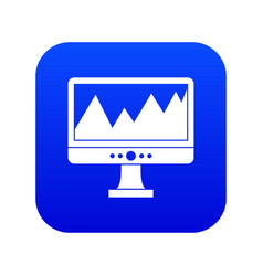 Monitor and a chart icon digital blue vector