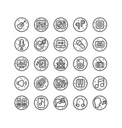 music and sound outline icon set vector image
