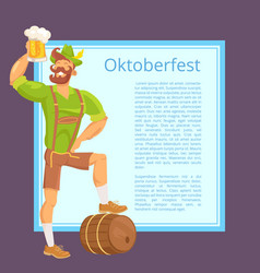 oktoberfest poster depicting bearded man with mug vector image