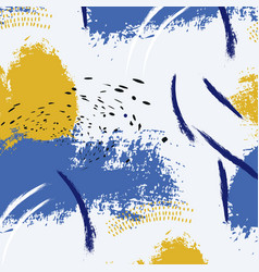 paint blue yellow brush stroke fashion abstract vector image