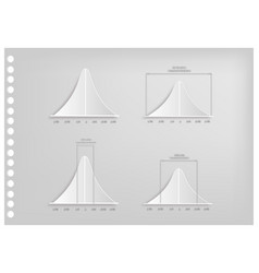 Paper art of normal distribution curve charts vector