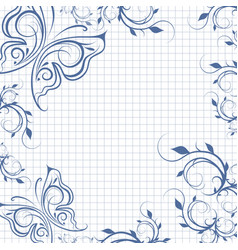 Paper background with butterflies vector