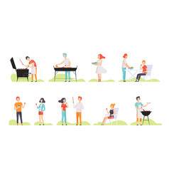people grilling barbecue on a grill men and women vector image