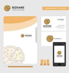 Pizza business logo file cover visiting card and vector