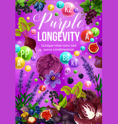 Purple fruits and vegetables color diet food vector