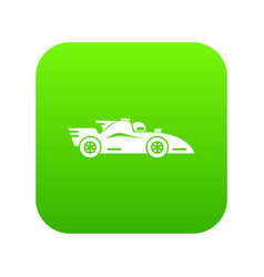 Racing car icon green vector