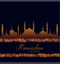 Ramadan kareem islamic background with lights vector