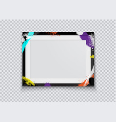 Realistic black photo frame painted with graffiti vector