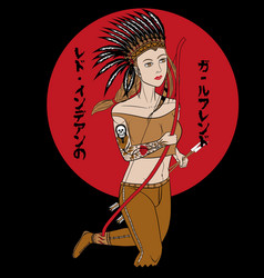 red indian girl t-shirt graphic vector image