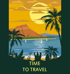Retro vintage time to travel style travel poster vector