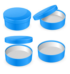 Round blue hat box open and closed empty carton vector