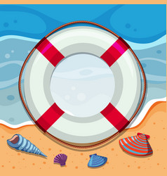Round border with seashells on beach vector