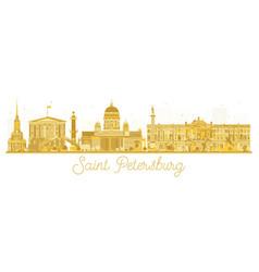 saint petersburg city skyline golden silhouette vector image