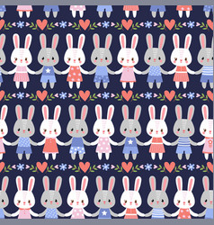 seamless with cute hares vector image