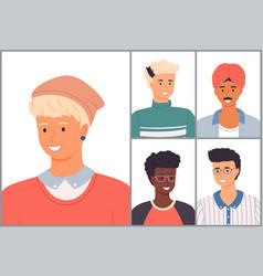 set avatars in flat design style positive vector image