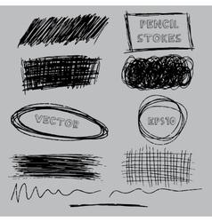 set of grunge pencil pen-like strokes vector image