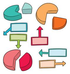 set of pie chart vector image
