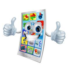 Smiling mobile phone mascot vector