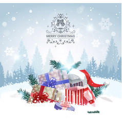 Stack of gifts over winter forest landscape merry vector