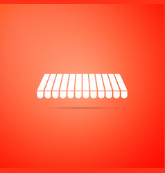 Striped awning icon isolated on orange background vector