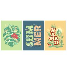 summer tee shirts prints with hawaii motives vector image