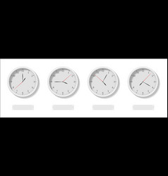 the four clock faces with the different time and vector image