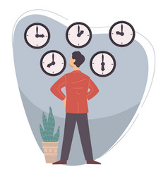 time management in business man looking at watches vector image