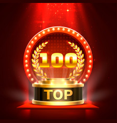 top 100 best podium award sign golden object vector image