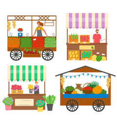 Trade tents with vegetables and flowers vector
