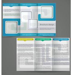 tri-fold business brochure template blue flyer vector image