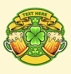 Two beer glasses cheers st patricks day badge vector