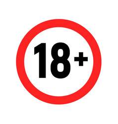 Under 18 sign warning symbol over 18 only vector