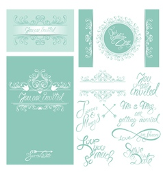 Wedding invitation set 3 380 vector