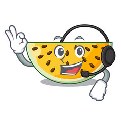 with headphone ripe yellow watermelon isolated on vector image