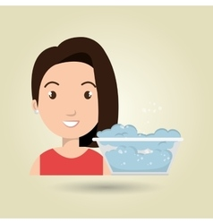 woman cartoon water bucket plastic detergent vector image