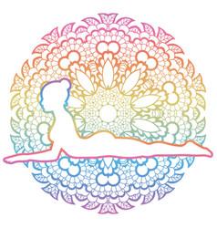 women silhouette sphinx yoga pose salamba vector image