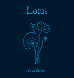 Yoga center emblem with lotus flower vector