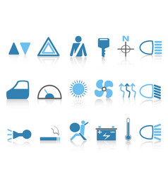 blue car dashboard icons set vector image vector image