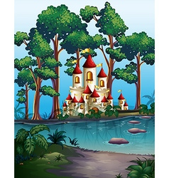 Castle towers in the forest vector image