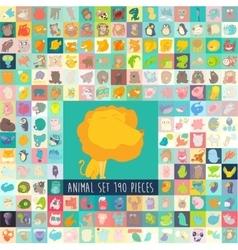 Cute Cartoon Animals Set Hand Drawn vector image